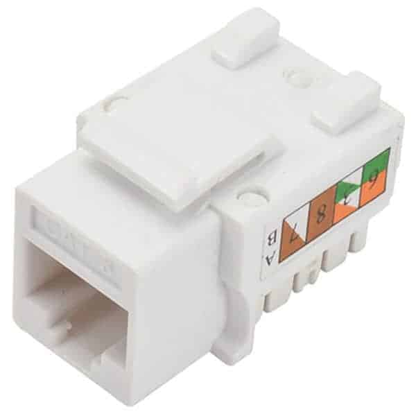 white cat6 keystone jack, white cat6 90 degree